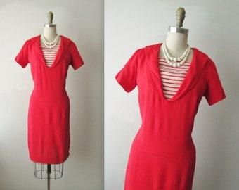 60's Sailor Dress // Vintage 1960's Red Linen Sailor Mad Men Sheath Dress M