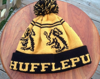 Wizard Cuff Pom Beanie Hat: Yellow and Black, Badger, Medium