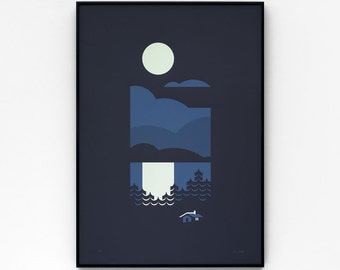 Cabin A2 limited edition screen print, hand-printed in 2 colours