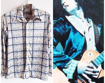 1970s blue grid print blouse/ 70s color block retro shirt/ 70s band rock shirt