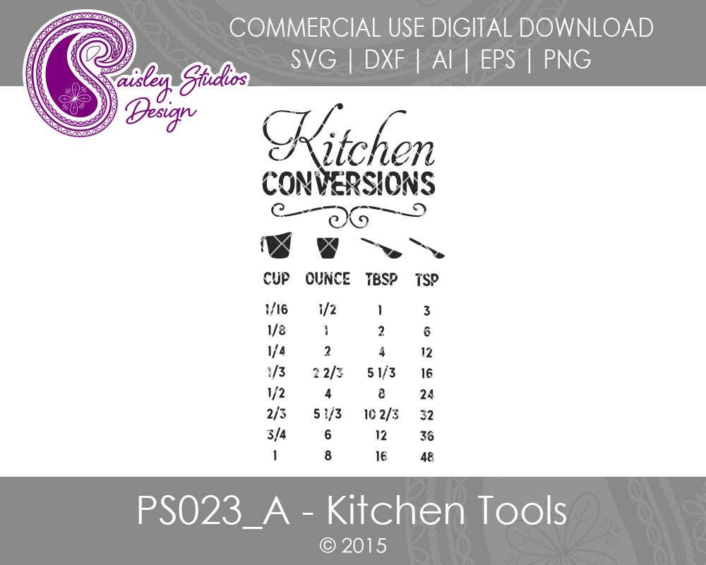 Download Kitchen Conversions Chart Kitchen SVG files Kitchen Tools