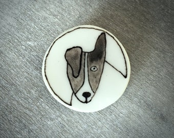 Ceramic dog brooch pin - Doodle ceramic porcelain Jack Russell pin
