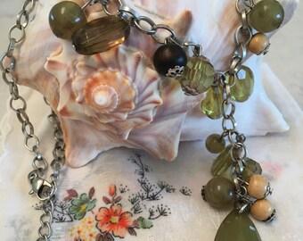 Boho Chic Jewelry, Beaded Necklace, Bib Necklace, Green Necklace, Green Beads, Silver Chain, Green Dangling Beads, Green Beaded Necklace