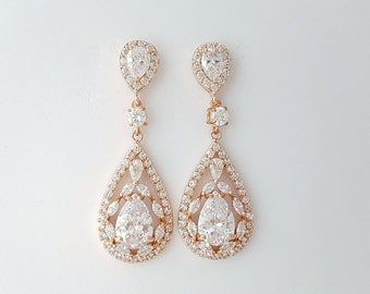 Rose Gold Earrings Wedding Jewelry Cubic Zirconia Teardrop Earrings Bridal Jewelry Rose Gold Crystal Wedding Earrings, Esther