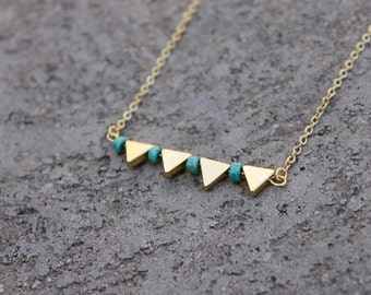 Triangle and Turquoise Stone Bar Necklace // 16K Gold // Minimal Necklace // Layering Necklace // Tribal Necklace // Geometric Necklace