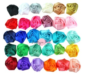 "Satin Rolled Rosettes...You Choose Quantity...Rolled Rosettes...Mini Rolled Rosettes...1.5"" Rosettes"