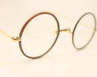 Small Vintage Round Zylo Windsor Eyeglass Frames 38mm