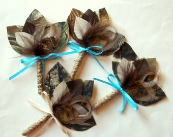 Camouflage Boutonnieres, Groom, Groomsmen, Ring Bearer, camo hunting, rustic wedding, mens Wedding Boutonniere, Bridal Accessories