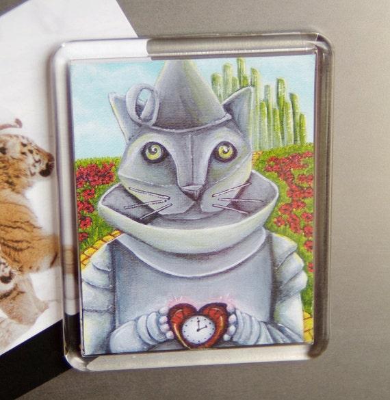Tin Man Cat Wizard of Oz, Emerald City, Yellow Brick Road, Cat Fridge Magnet