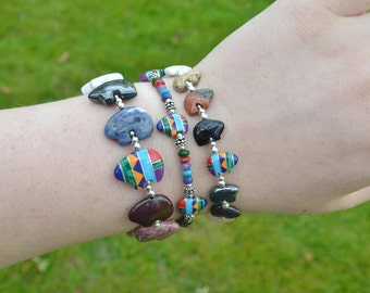 Zuni Fetish style Mixed Gemstone Bear Bracelet, beaded with 7-11 semi precious stones and Sterling Silver (Available in 2 sizes of bear)