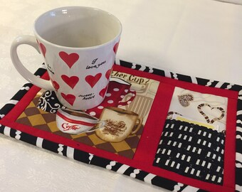 Coffee Shop Inspired Mug Rug, Red,Black and Brown Fabrics