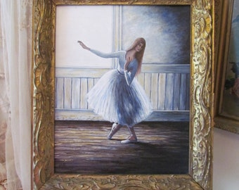 Beautiful Ballerina Painting On Board With Ornate Antique Gold Frame, Signed  Barbara Hill