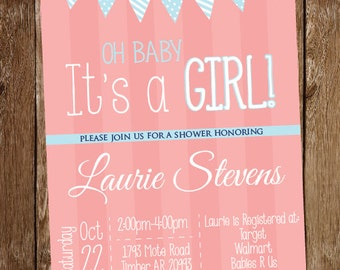 Girl Baby Shower Invitation - Oh, Baby It's a Girl