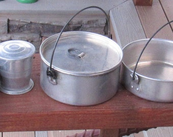 Mixed Group of Pans, plus WW II Mess Kit PAN (no contents) also a Collapsable cup for Camping, Hiking, Repurposing or Collecting