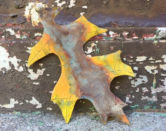 Upcycled Painted and Stained Glass Oak Leaf Window Hanging - Medium
