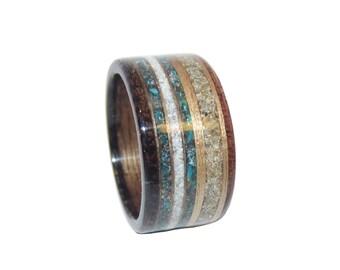 Anelli di fidanzamento anello gioielli sabbia mogano noce fidanzamento gioielli anelli in legno ladies womens anello CRISOCOLLA in legno gioielli anello