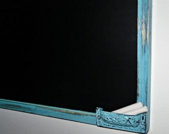 Aqua Framed chalkboard, 23x35  Ex- Large chalkboard  / Shabby Chic Decor