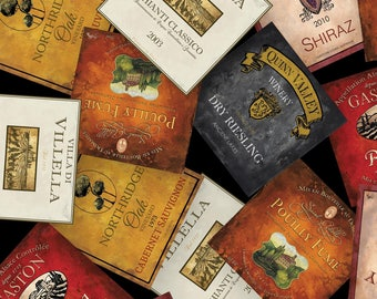 Vintage by Henry Glass - Wine Labels - Cotton Woven Fabric