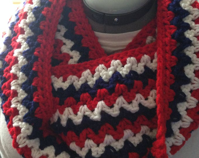 Infinity Scarf - USA - Red - White and Blue - Patriotic - Unites States of America - Handmade Crochet - Ready to Ship
