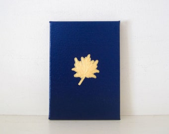 MAPLE LEAF - Navy and Gold Leaf Painting - Navy Painting - Navy Canvas - Gold Leaf Painting - Gold Wall Art - Toronto Maple Leafs Home Decor