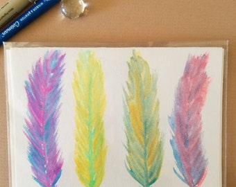 Neon Feather Watercolor and Ink Card