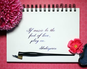 Shakespeare Quote - Music is the Food of Love - Custom Calligraphy Digital Download