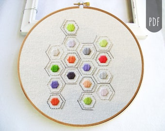 PDF Hand Embroidery Pattern Geometric Hexagons
