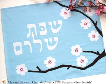 Challah Cover Sewing Pattern with Almond Blossoms - PDF Sewing Pattern Instant Download - Jewish Sewing Pattern with Hebrew Shabbat Shalom