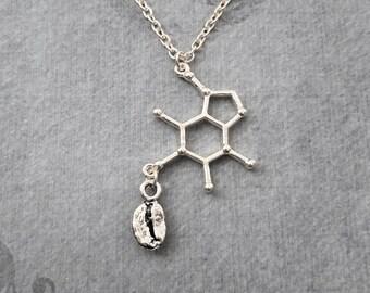 Caffeine Molecule Necklace Coffee Jewelry Caffeine Jewelry Chemist Necklace Coffee Bean Necklace Coffee Gift Biochemistry Molecule Science