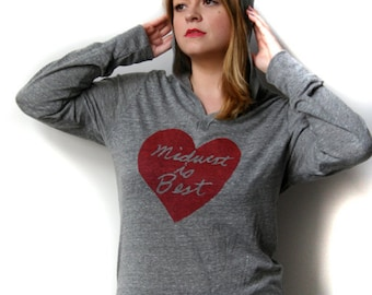 midwest is best hooded tshirt, midwest is best heart, midwest longsleeve shirt, gray and red, unisex hoodie, megan lee designs, free ship