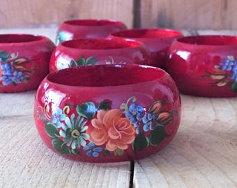 Vintage Floral Rose Napkin Rings Set of 6 French Country