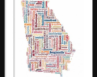 Georgia Typography Map Poster Print Color