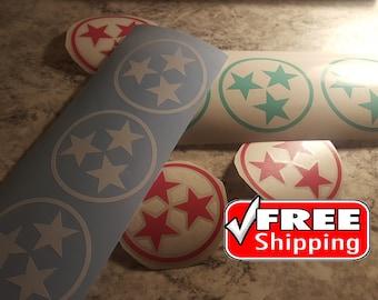 "3.5"" TN Tri-Star, Tristar, Tennessee, Rocky Top, Tennessee Flag, Tennessee Decal, Tennessee Tri-Star Decal, Car Decal, Window Vinyl, AD111"
