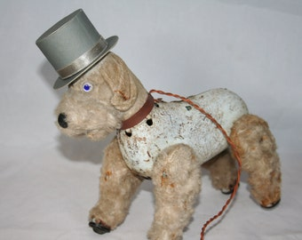 Vintage Battery Operated Movement Tin Dog In Top Hat - Semi Works Only.