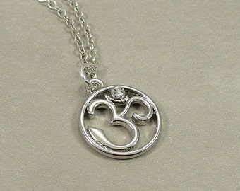 Om (Aum) Symbol Necklace, Silver Om Symbol Charm on a Silver Cable Chain