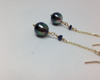 Cultured Tahitian Peals, Dangle Drop Pearl Earrings, 14k Gold, Peacock Pearls, Fine Jewelry, Black Pearls, Sapphire and Pearls  (PE10)