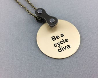 Be a cycle diva bicycle necklace, cycling pendant, bike jewelry, mountain bike gift, bmx present, fixie jewelry