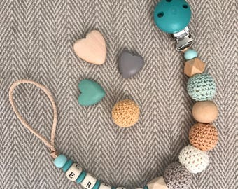 Handmade Baby Personalised Natural Mint Brown Beige Wooden Crochet Dummy Clip Pacifier Teether Toy Gift