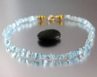 Aquamarine Diamond Necklace - Hand Cut Crystals - Aquamarine Necklace - Heirloom Necklace Earring Set