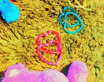 I Heart U Neon Retro Kitsch Earrings