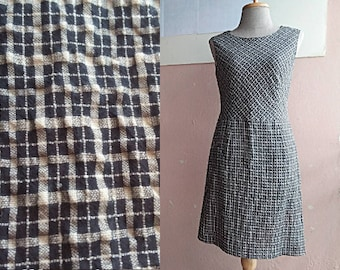 Summer Day Dress - Mini Sleeveless Dress - 80s Check Day Dress - Cream Black Mini Dress - Japanese Vintage - Small Minimalist Dress