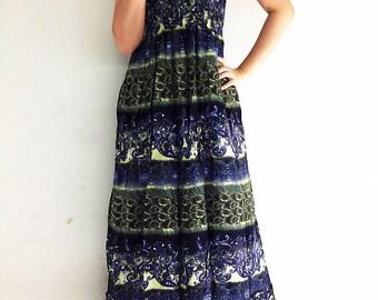Women Maxi Dress Gypsy Dress Boho Dress Hippie Dress Summer Beach Dress Long Dress Party Dress Clothing Printed Green Blue (DL23)