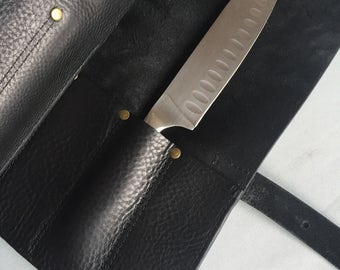 PERSONALISED black leather knife roll, knife case gift, leather knife holder, butchers knife roll, personalised gift, chefs gift, knife case