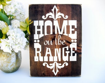 Western Rustic Wood Sign - Home on the Range (#1571)