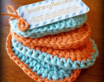 Crocheted teething biscuits