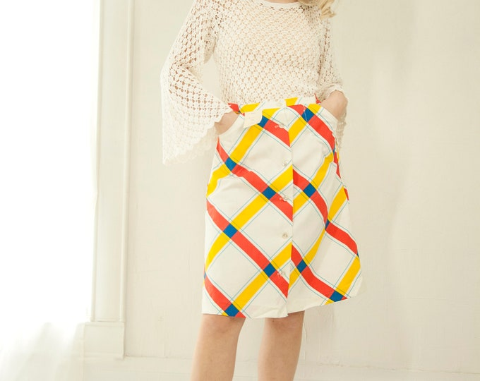 Vintage plaid high skirt, white red yellow blue plaid primary colorful A-line knee length M 1970s retro deadstock NOS