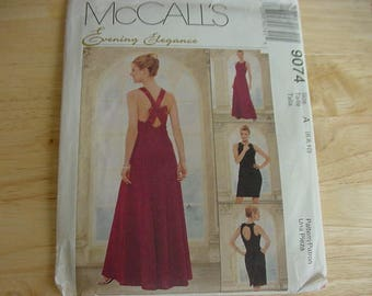 Vintage 1990s McCalls Pattern 9074, Misses Evening Dress, Lined Dress, 2 Lengths, Semi-Fitted, Variations, Multi Size 6-8-10