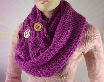 KNITTING PATTERN SCARF woman knit scarf pattern - LouLou Kiss Scarf Cowl Pattern - Big Scarf wooden Buttons pdf pattern Instant Download