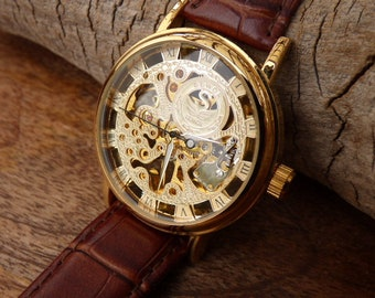Goldtone Mechanical Wrist Watch, Brown Leather Wristband, Steampunk, 38mm case, Groomsmen Gift - Engravable Watch - Item MWA068