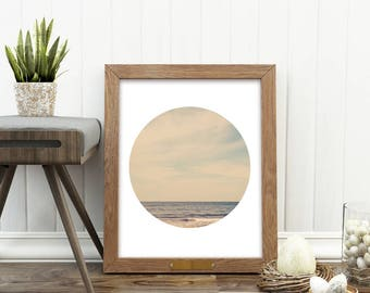 ocean print, beach photography, digital download, nautical print, boys room decor, beach house wall art, landscape photography, circle print
